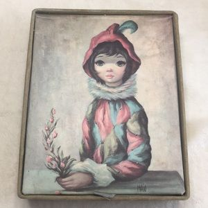 Vintage 1950s jewelry box velvet trim girl in hood